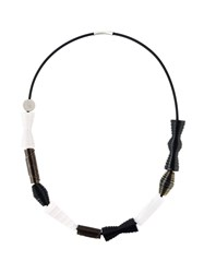 Pleats Please By Issey Miyake Geometric Shape Necklace Black