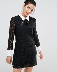 Sister Jane Lace Dress With Collar And Sparkle Bow Black