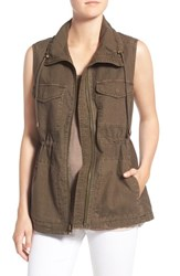 Velvet By Graham And Spencer Women's Cotton Linen Military Vest Deep Green