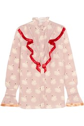 Stella Mccartney Maia Fringed Printed Silk Crepe De Chine Blouse Pastel Pink