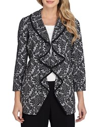 Tahari By Arthur S. Levine Floral Knit Jacket White Black