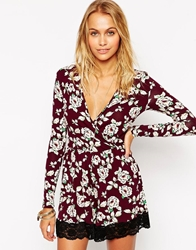 Asos Wrap Playsuit With Lace Hem In Vintage Floral Print Multi