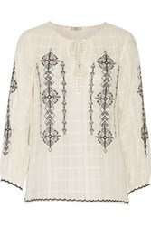 Joie Lemay Embroidered Cotton Gauze Top Ivory