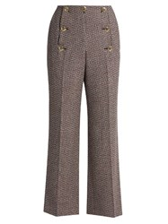 Sonia Rykiel High Waisted Flared Wool Tweed Trousers Red Multi