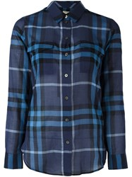 Burberry Brit Checked Longsleeved Shirt Blue