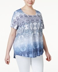 Styleandco. Style And Co. Plus Size Printed Embellished Short Sleeve Top Only At Macy's Mantra