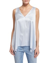 Brunello Cucinelli V Neck Handkerchief Hem Camisole Light Blue Women's