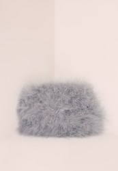 Missguided Feather Clutch Bag Silver Purple