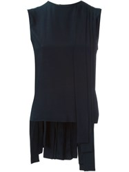 Marni Pleated Draped Tank Top Blue