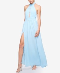 Fame And Partners Keyhole Halter Dress With Front Slit Pale Blue