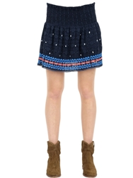 Superdry Embroidered Cotton Lace Skirt Blue