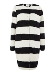 Part Two Funky Blured Striped Coat. White