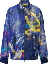 Y 3 Printed Bomber Jacket Blue