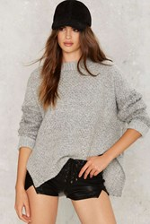 Knit Can Happen Oversized Sweater Gray