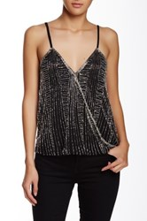 Angie Surplice Beaded Tank Black
