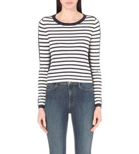 French Connection Cass Striped Knitted Jumper Winter White