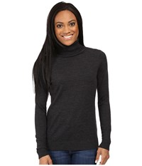 Pendleton Petite Timeless Turtleneck Charcoal Heather Women's Long Sleeve Pullover Gray