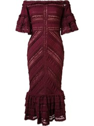 Cinq A Sept Ruffled Lace Dress Red