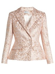 Osman Mona Leaf Brocade Double Breasted Jacket Gold