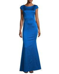 Zac Posen Irina Cap Sleeve Mermaid Gown Blue