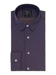 T.M.Lewin London Plain Fitted Long Sleeve Formal Shirt Navy
