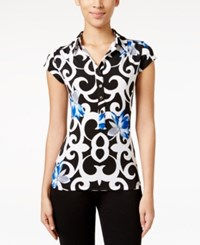 Alfani Petite Printed Cap Sleeve Polo Shirt Only At Macy's Statment Scroll Blue
