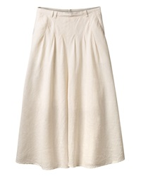 East Long Stripe Flare Skirt Beige