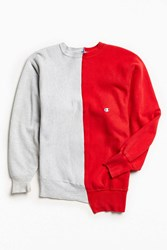 Urban Outfitters Vintage Champion Grey Red Split Seam Crew Neck Sweatshirt