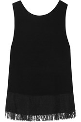 Theory Vendla Fringe Trimmed Knitted Tank Black