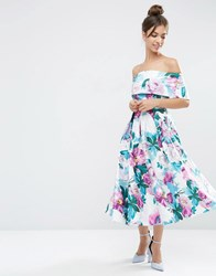 Asos Off The Shoulder Midi Prom Dress In Bright Purple Floral Multi