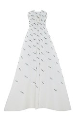 Elizabeth Kennedy Parallelogram Embroidered Strapless Ball Gown White