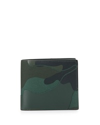 Valentino Camo Leather Bi Fold Wallet Green