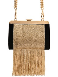 Balmain The Day Beaded Velvet Clutch Black Gold