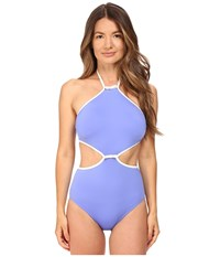 Kate Spade Cut Out High Neck Maillot Adventure Blue Women's Swimsuits One Piece
