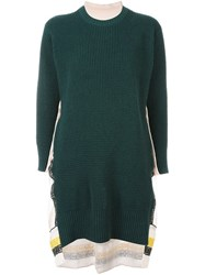 Sacai Calligraphy Embroidered Knitted Dress Green