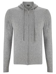 John Lewis Made In Italy Cashmere Full Zip Hoodie Grey