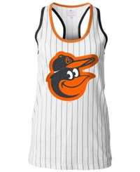 5Th And Ocean Women's Baltimore Orioles Pinstripe Glitter Tank Top White