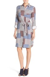Foxcroft Petite Women's Belted Stripe Patchwork Print Shirtdress Grey Multi