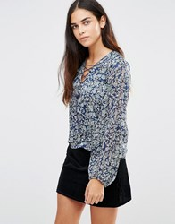 Tfnc Printed Tie Up Detail Top Blue
