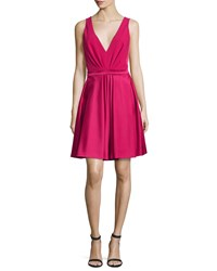 J. Mendel V Neck Fit And Flare Dress Fuchsia Pink
