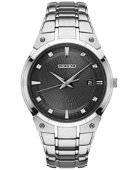 Seiko Men's Solar Diamond Accent Stainless Steel Bracelet Watch 41Mm Sne429 Silver