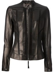 Roberto Cavalli Lace Panel Biker Jacket Black