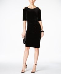 Connected Velvet Cold Shoulder Ruched Sheath Dress Black