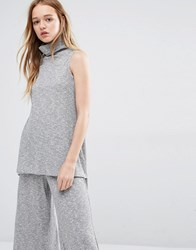 Native Youth High Neck Tunic Top Co Ord Grey
