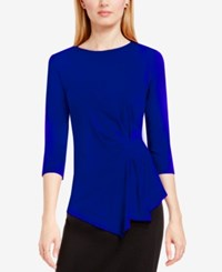 Vince Camuto Side Ruched Asymmetrical Top Anchor Blue