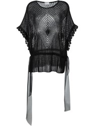 Red Valentino Open Knit Loose Top Black