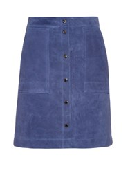 Vanessa Bruno Button Front Suede Skirt Navy