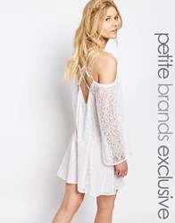 White Cove Petite All Over Lace Bell Sleeve Shift Dress With Strappy Back White