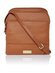 Dickins And Jones Kingsway Large Double Zip Crossbody Bag Tan