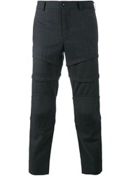 Comme Des Garcons Homme Plus Striped Cropped Trousers Grey